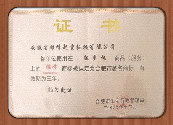 雄峰产品被评为合肥著名商标